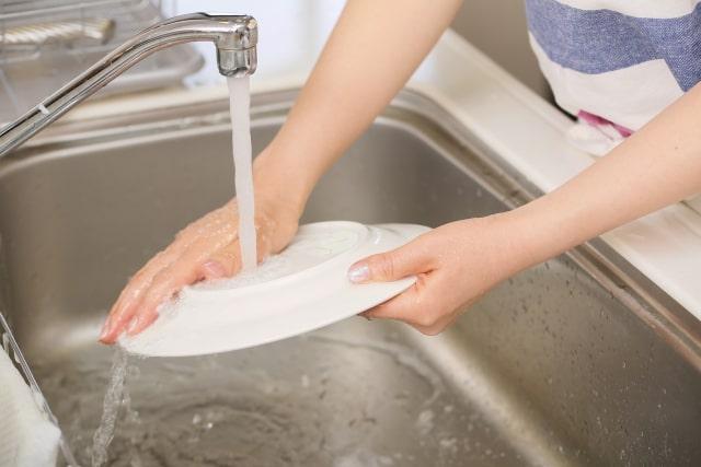 食器洗い機に入れる前に水ですすぐ